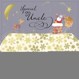 Uncle Christmas Card with Gold Foiling, Contemporary Design and Red Envelope KIS25